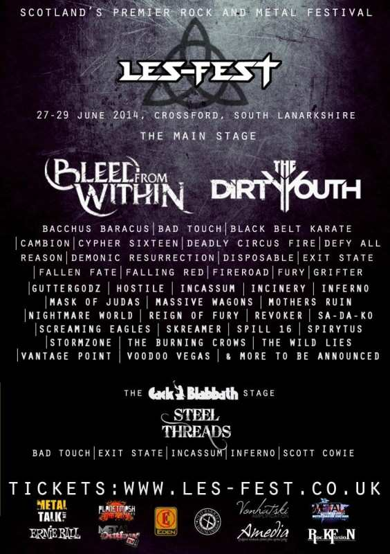 BLEED FROM WITHIN play Exclusive Scottish Headline date for Les-Fest 3 in 2014