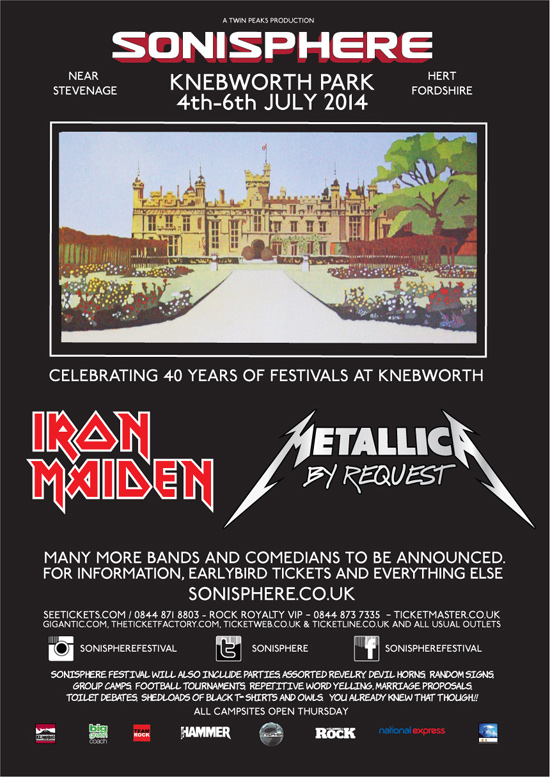 SONISPHERE 2014 returns to make history with IRON MAIDEN and METALLICA